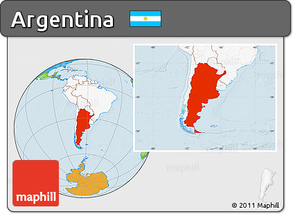 Free Political Location Map Of Argentina Highlighted Continent - Argentina map continent