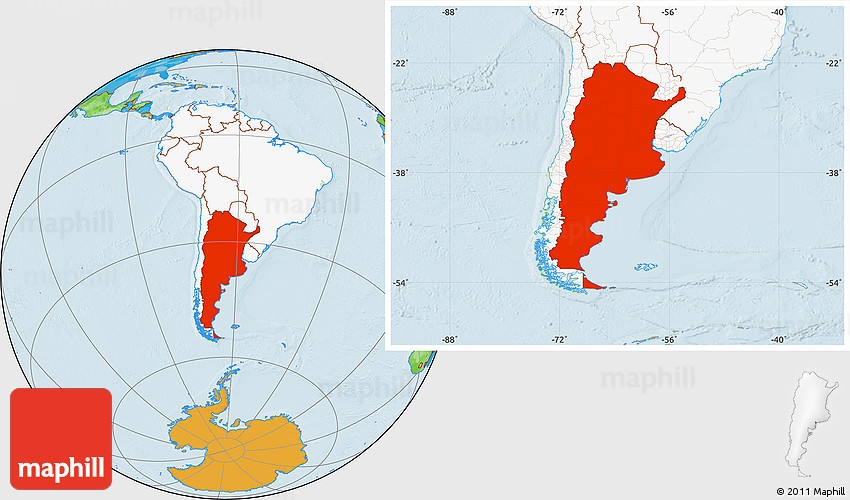 Political location map of argentina highlighted continent 2d gumiabroncs Images