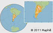 Political Location Map of Argentina, savanna style outside