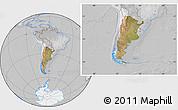 Satellite Location Map of Argentina, lighten, desaturated