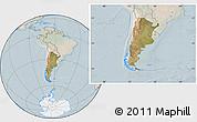Satellite Location Map of Argentina, lighten