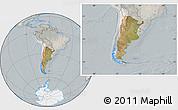 Satellite Location Map of Argentina, lighten, semi-desaturated