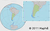 Savanna Style Location Map of Argentina, gray outside