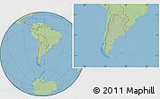 Savanna Style Location Map of Argentina, hill shading inside