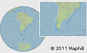 Savanna Style Location Map of Argentina, hill shading outside