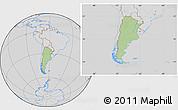Savanna Style Location Map of Argentina, lighten, desaturated