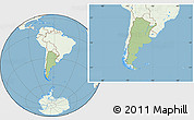 Savanna Style Location Map of Argentina, lighten, land only