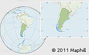 Savanna Style Location Map of Argentina, lighten