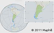 Savanna Style Location Map of Argentina, lighten, semi-desaturated