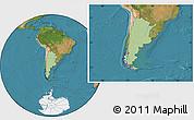 Savanna Style Location Map of Argentina, satellite outside