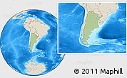Savanna Style Location Map of Argentina, shaded relief outside