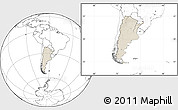 Shaded Relief Location Map of Argentina, blank outside