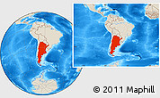 Shaded Relief Location Map of Argentina, within the entire continent