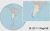 Shaded Relief Location Map of Argentina, gray outside, hill shading