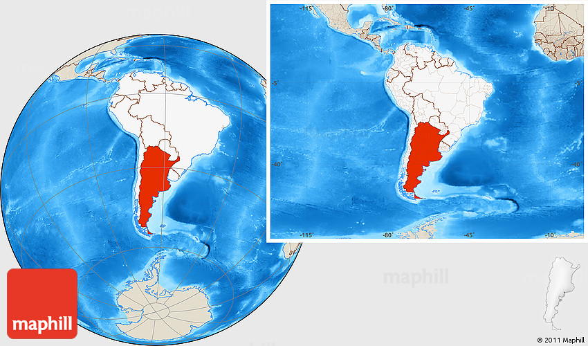 Shaded Relief Location Map Of Argentina Highlighted Continent - Argentina map continent