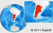 Shaded Relief Location Map of Argentina, highlighted continent