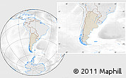 Shaded Relief Location Map of Argentina, lighten, desaturated