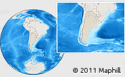 Shaded Relief Location Map of Argentina, lighten, land only