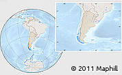 Shaded Relief Location Map of Argentina, lighten