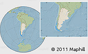 Shaded Relief Location Map of Argentina, savanna style outside, hill shading