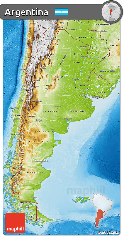 Free Physical Map Of Argentina - Argentina physical map
