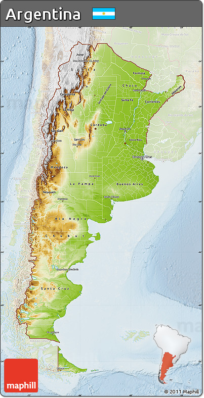 Free Physical Map Of Argentina Lighten - Physical map of argentina