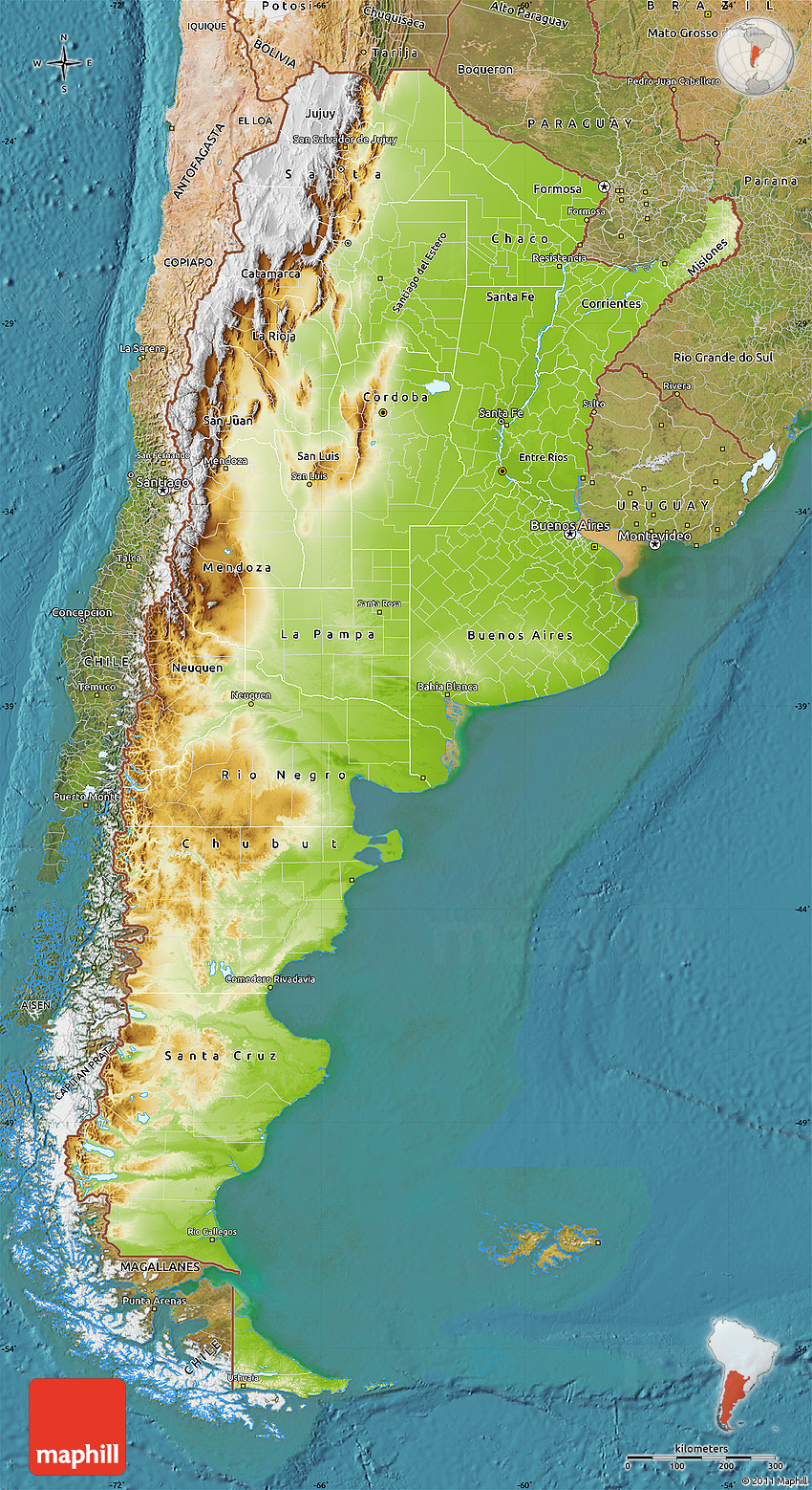 Physical Map Of Argentina Satellite Outside - Physical map of argentina