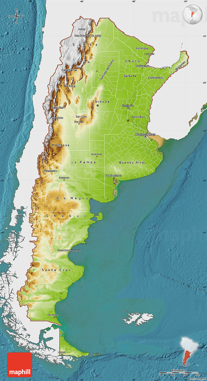 Physical Map Of Argentina Single Color Outside Satellite Sea - Physical map of argentina