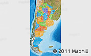 Political Map of Argentina, satellite outside, bathymetry sea