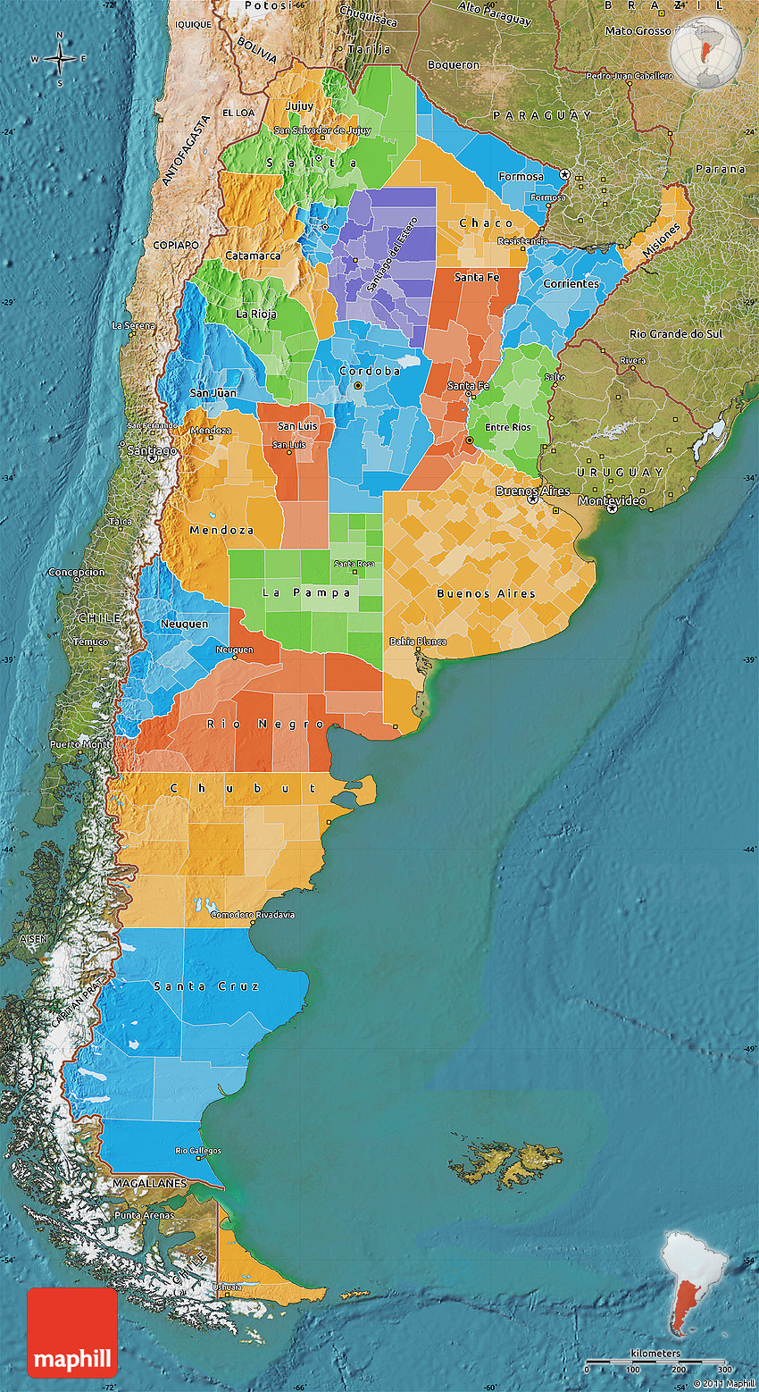 Political Map Of Argentina Satellite Outside