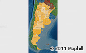 Political Shades Map of Argentina, darken