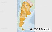 Political Shades Map of Argentina, lighten