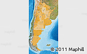 Political Shades Map of Argentina, satellite outside, bathymetry sea