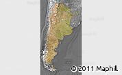 Satellite Map of Argentina, desaturated