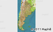 Satellite Map of Argentina, physical outside, satellite sea