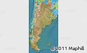 Satellite Map of Argentina, political outside, satellite sea