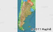 Satellite Map of Argentina, political shades outside, satellite sea