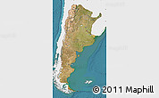 Satellite Map of Argentina, single color outside