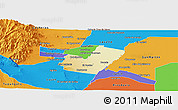 Physical Panoramic Map of Maipu, political outside