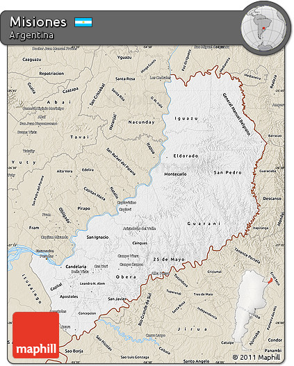 Free Classic Style Map Of Misiones - Argentina misiones map