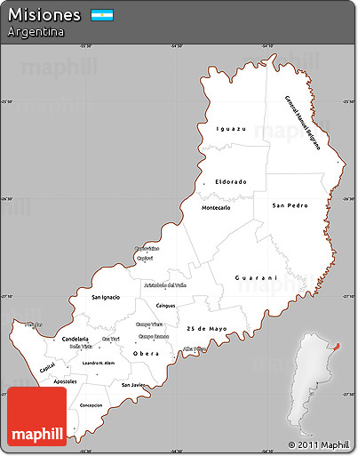 Free Gray Simple Map Of Misiones Cropped Outside - Argentina misiones map