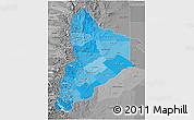 Political Shades 3D Map of Neuquen, desaturated
