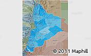 Political Shades 3D Map of Neuquen, semi-desaturated