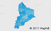 Political Shades 3D Map of Neuquen, single color outside