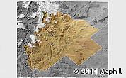 Satellite 3D Map of Catan Lil, desaturated