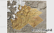 Satellite 3D Map of Catan Lil, semi-desaturated