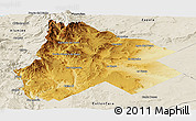 Physical Panoramic Map of Catan Lil, shaded relief outside