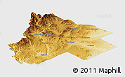 Physical Panoramic Map of Catan Lil, single color outside