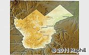 Physical 3D Map of Collon Cura, darken