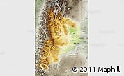 Physical Map of Neuquen, semi-desaturated